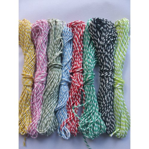 10m of Candy Striped Bakers Twine - Large Range of Colours