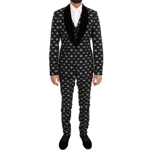 Dolce & Gabbana Black Crown Wool Stretch Slim Fit Suit