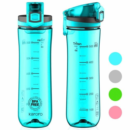 Water bottle Karoro(600ml-20oz) Tritan Leak Proof Slim Eco Friendly BPA Free-Fast Water Flow, Flip Top, Opens With 1-Click - For...