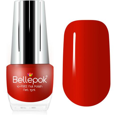 Bellepok 10-FREE Nail Polish - Red Carmen | Non-Toxic Red Nail Varnish