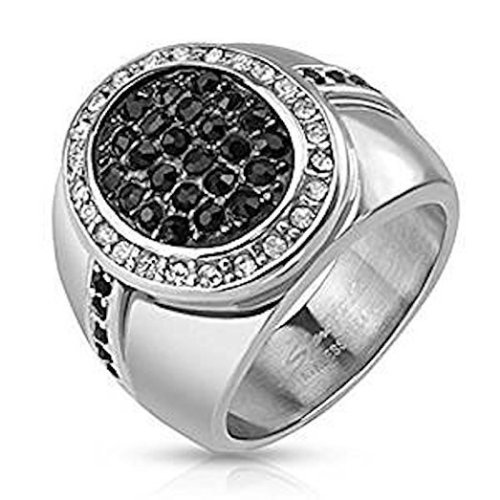 20mm Micro Paved Crystals Oval Centere Two Tone Stainless Steel Cast Ring