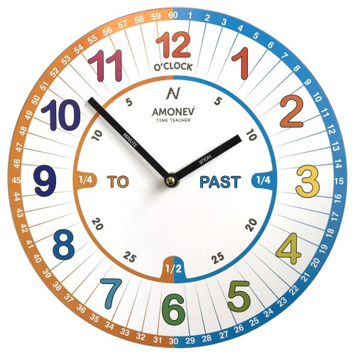 Amonev VS1 Time Teacher clock Children Wall Clock is a Easy to Read clock with Silent movement. A perfect gift, 30cm Diameter