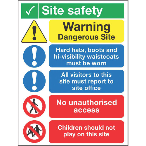 """""""SITE SAFETY"""" NOTICE SIGN 400 X 300MM"""