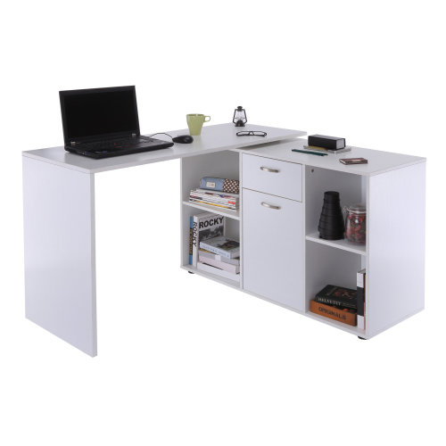 HOMCOM Dual-Use Adjustable L-Shaped Computer Desk-White