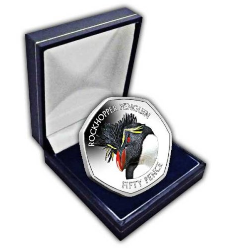 Falkland Islands 2018 Southern Rockhopper Penguin 50p Cupro Nickel Coin in a box