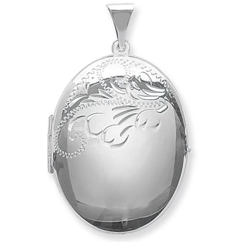 Childrens Sterling Silver Large Half Engraved Oval Locket On A Curb Necklace