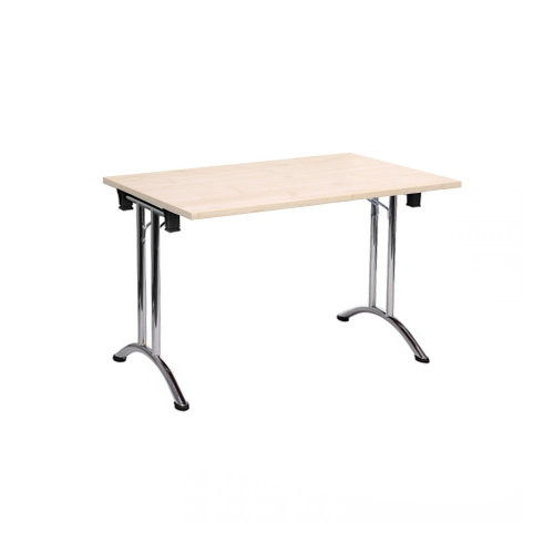 Folding Computer Desk Office Dining Table Workstation Maple Top Chrome Frame 120x80cm