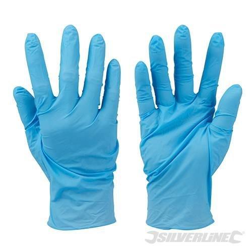 Silverline Disposable Nitrile Gloves Powder-free 100pk Blue Large