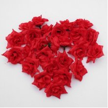 25 Roses Artificial Silk Flower Heads Lot For Hair Clip Wedding Decoration