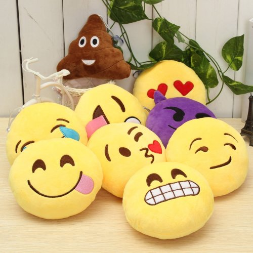 5.9'' 15cm Emoji Smiley Emoticon Stuffed Plush Soft Toy Round Cushion Ornament Decor Gift