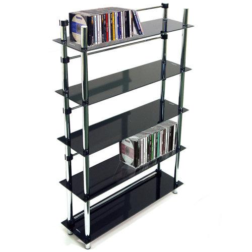 MAXWELL - 5 Tier 165 DVD / Blu-ray / 250 CD / Media Storage Shelves - Black