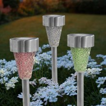 Two Tone Crackle Mosaic Solar Post Light Pink Silver Green