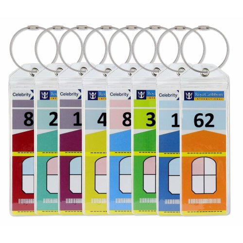 Cruise Luggage Tag Holders Slim with Zip Seal & Steel Loops (8 Pack) - Royal Caribbean & Celebrity Cruise