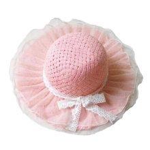 Children Princess  Lace Bowknot Beach Hat Sun Hat Girls Hat,PINK