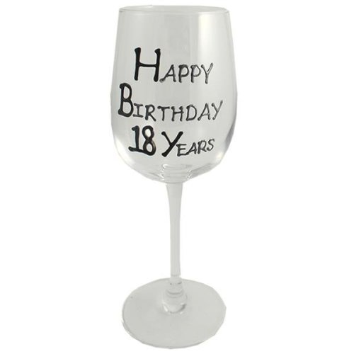 Birthday Gift Wine Glass (Black/Silver)