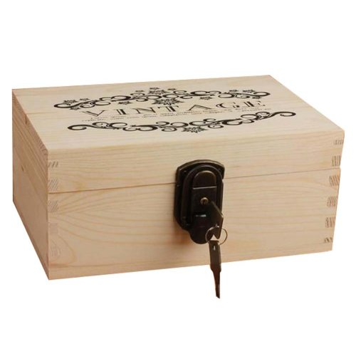 Creative Woody Retro Safe Lock Box Desktop Cosmetics Box Jewelry Box-L/W