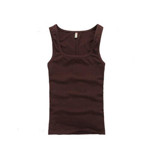 Summer Close-Fiting Bottoming Vest Sport Vest For Men Dark Coffee