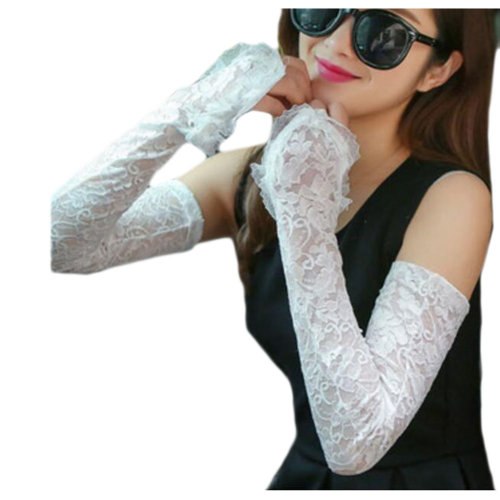 Lace Outdoor Sunscreen Clothing Women Gloves Breathable Sun Protective Sleeves-White