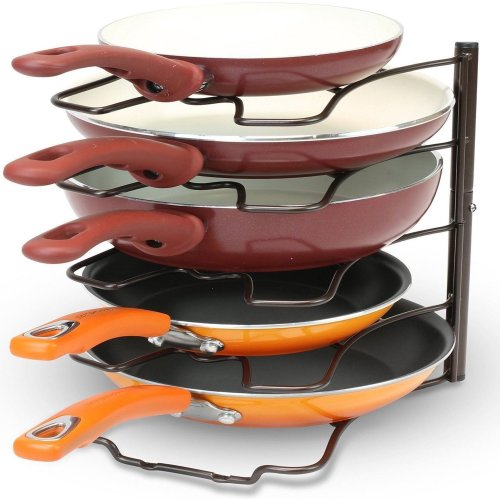 5 Tier Frying Pan Stand Holder Kitchen Cabinet Pantry Storage Rack