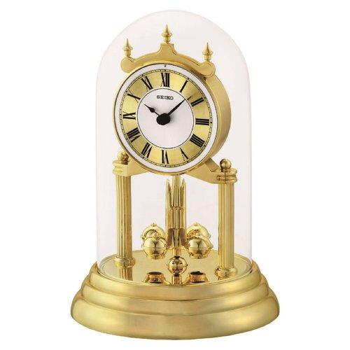 Seiko QHN006G Anniversary Mantel Clock with Rotating Pendulum - Gold