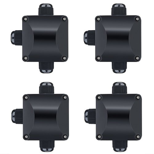 ZWOOS Junction Box IP66 Waterproof Cable Connectors 3 Way Outdoor Electrical External Coupler (Black, 4 Pcs)