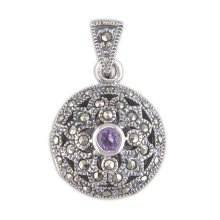 Sterling Silver Amethyst & Marcasite Fancy Round Locket On A Snake Necklace