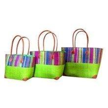 Madagascar Set of 3 Lime Green Raffia Hanta Strip Basket