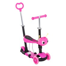 Homcom Kids' 5-in-1 Kick Scooter | Adjustable Pink Kids' Scooter