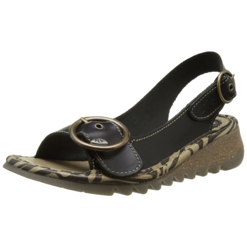 Fly London Women's TRAM723FLY Heels Sandals, (Black 000), 6 UK 39 EU