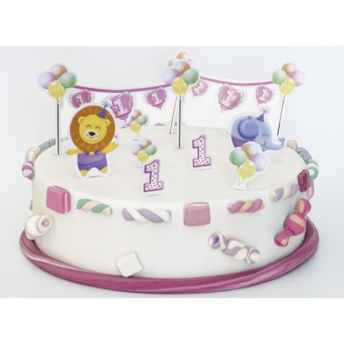 Baby Girl 1st Birthday Cake Decorations Easy Quick Plastic Card