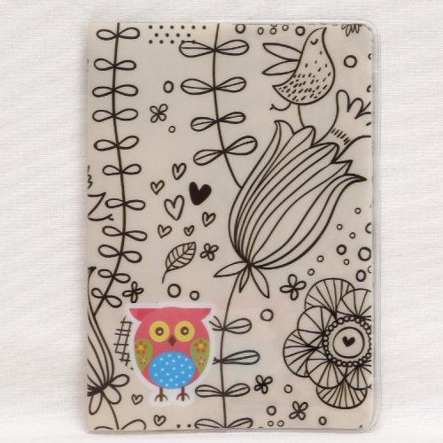 Cute Owl Garden Flowers Birds Passport Cover