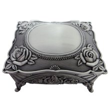 Dark Pewter Metal Trinket Jewellery Treausre Chest with Intricate Floral Decor by Happy Homewares