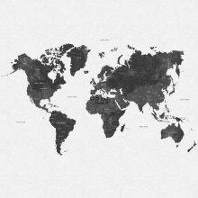 wall mural vintage world map greyish black - 158854