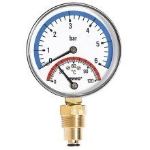 80mm 6bar 120c Thermo Pressure Gauge 1/2 Inch Side Entry Manometer