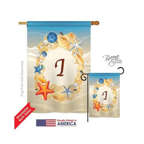 Breeze Decor 30165 Summer I Monogram 2-Sided Vertical Impression House Flag - 28 x 40 in.