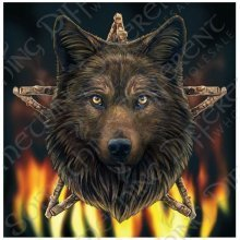 Lisa Parker Wild Fire Wolf Blank Square Greeting Card Black Wolf Head Pentagram Birthday Christmas Pagan Wiccan Fantasy Gift