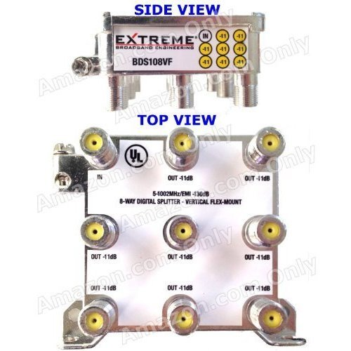 EXTREME 8 WAY BALANCED HD DIGITAL 1GHz HIGH PERFORMANCE COAX CABLE SPLITTER BDS108VF by Extreme