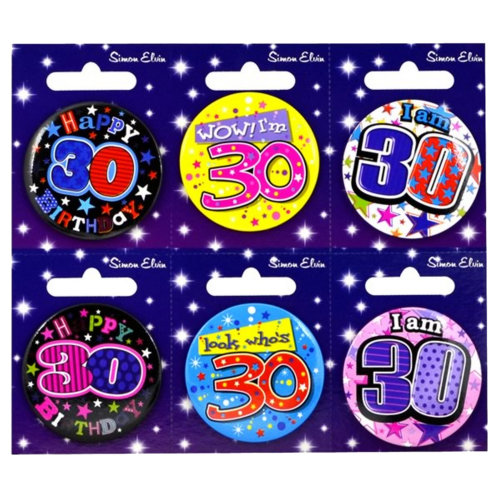 Simon Elvin 30th Birthday Small Badge (Pack Of 6)
