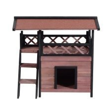 Pawhut Wood House Outdoor Weatherproof Shelter Dog or Cat Puppygarden Kennel Crate