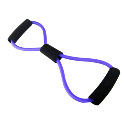 Eight Figure Shape Latex Resistance Band Exercise Straps, Purple