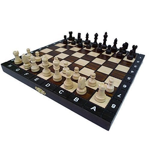 "10.5"" European School chess set - Ornate folding board"