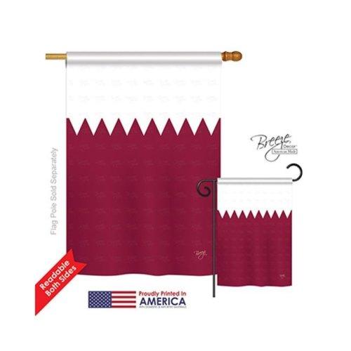 Breeze Decor 08267 Qatar 2-Sided Vertical Impression House Flag - 28 x 40 in.