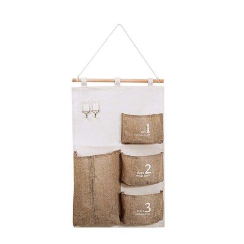 Linen Cotton Fabric Wall Door Hanging Storage Bag  Home Organizer