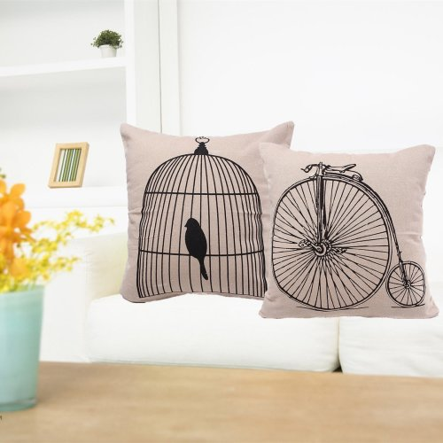 43x43cm Birdcage Bicycle Cotton Linen Pillow Case Throw Cushion Cover Home Decor