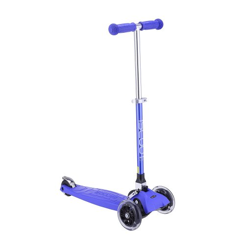 iScoot© Pro Mini Tilt Kickboard Mini T-Bar 3 Wheel Kick Scooter Bobbi Board for Boys / Girls / Children with LED Wheels - Dark Blue Oxide