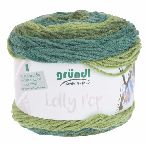 Gründl Wool Lolly Pop Fb. 06, Quick knit - Wool Bobbel Colour gradient yarn for Needle thickness 5 - 6 mm, incl. Instructions (german) for 1...