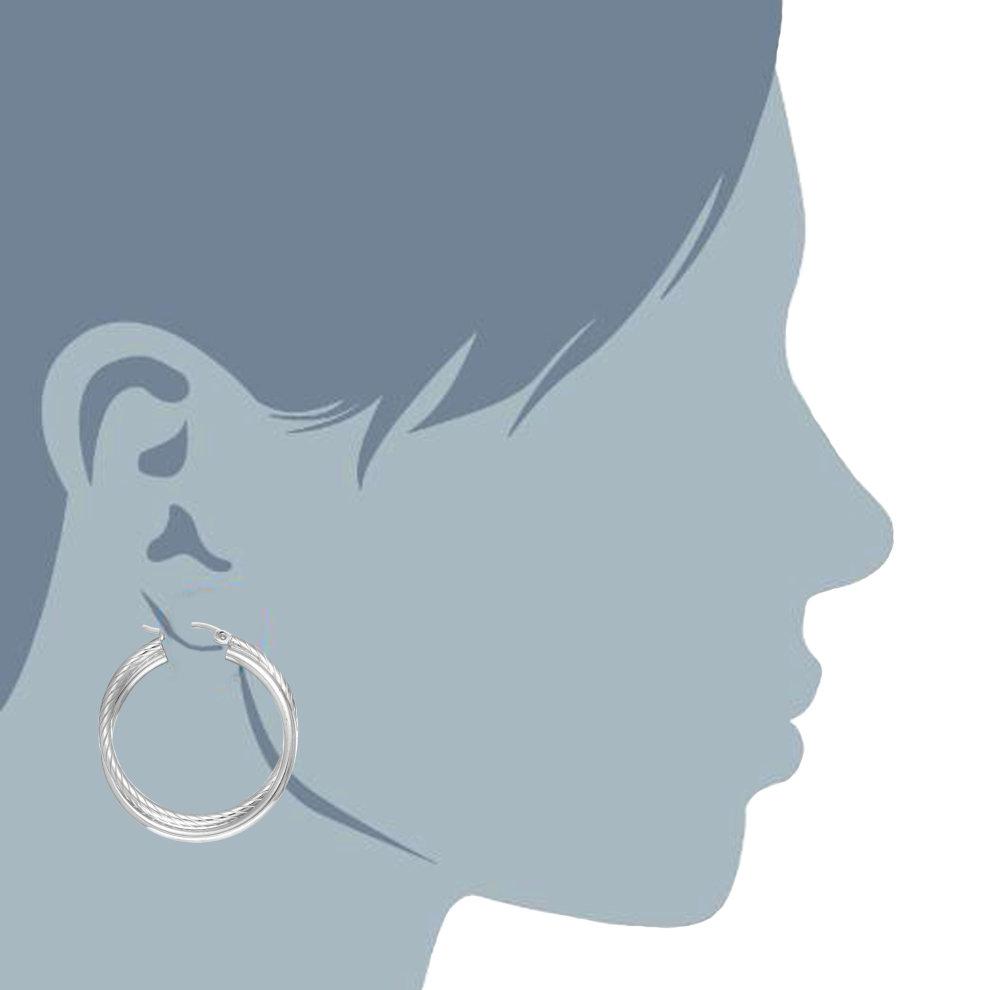 8b4cf994f ... Sterling Silver Rhodium Plated Twisted Tube Round Hoop Earrings,  Diameter 30mm - 2. >