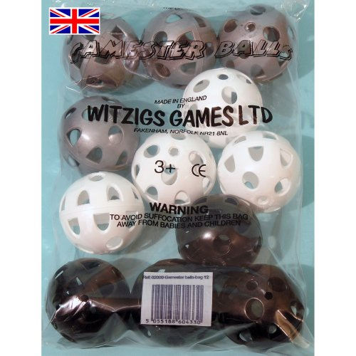 Gamester perforated plastic playballs bag of 12 in black, white & silver ref. 02007