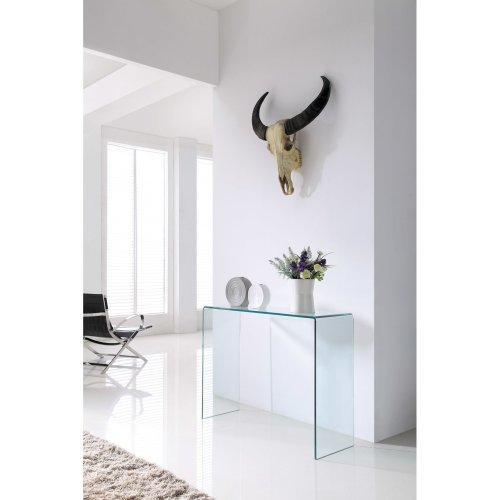 Crystal Modern Clear Bent 12mm Tempered Glass Console Table