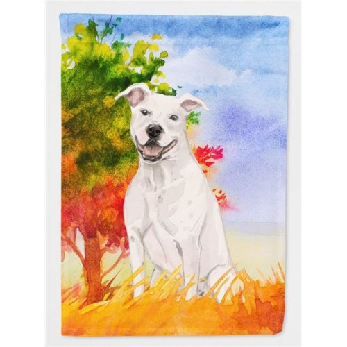 Carolines Treasures CK1961CHF Fall White Staffie Bull Terrier Flag Canvas House Size